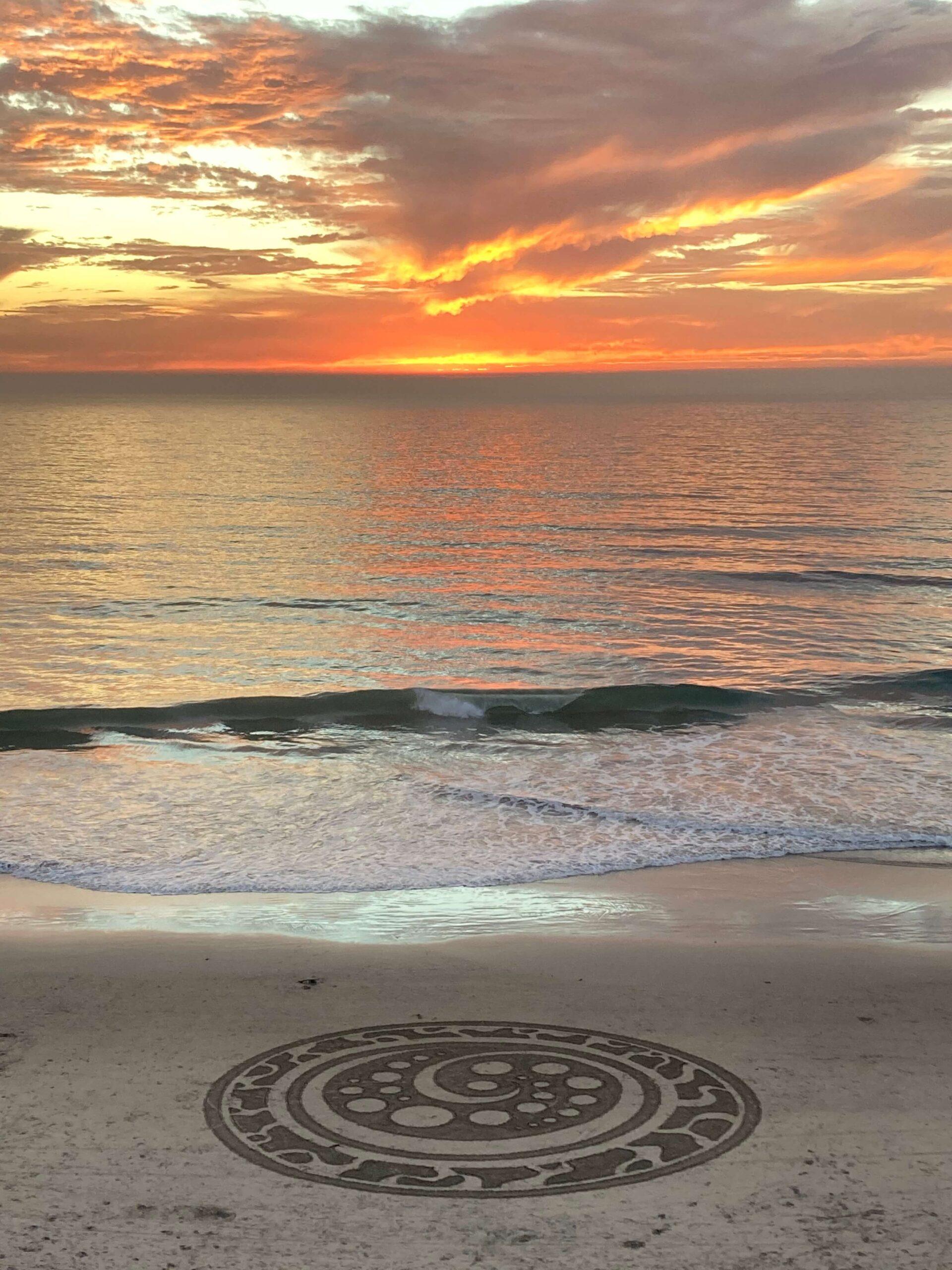 beach art sunset
